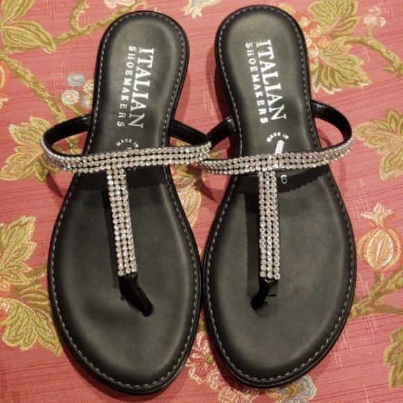 8d79a5def9c Italian Shoemakers Shoes | Black Sandals With Rhinestones Sz6 Mint ...